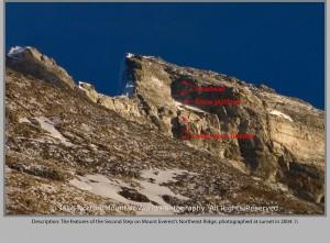 Panorama of Everest summit and Northeast Ridge