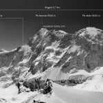 Panorama Piku Kosmos po opadach śniegu z zaznaczonymi strefami]