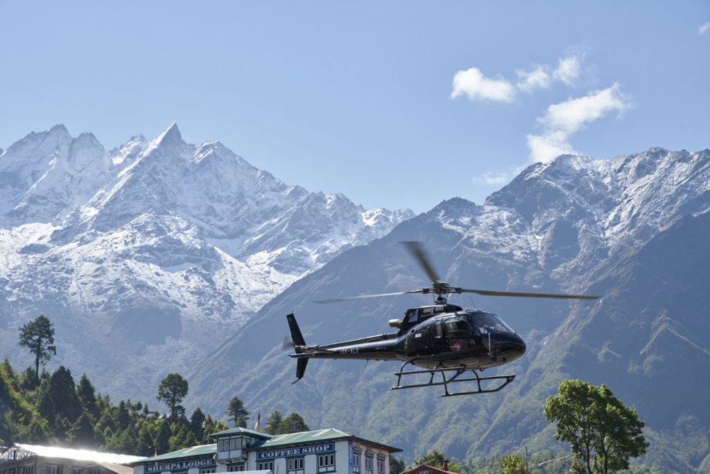 Manang Air B3 helicopter coming in to land at Lukla helipad, piloted by Ryan Skoreki.