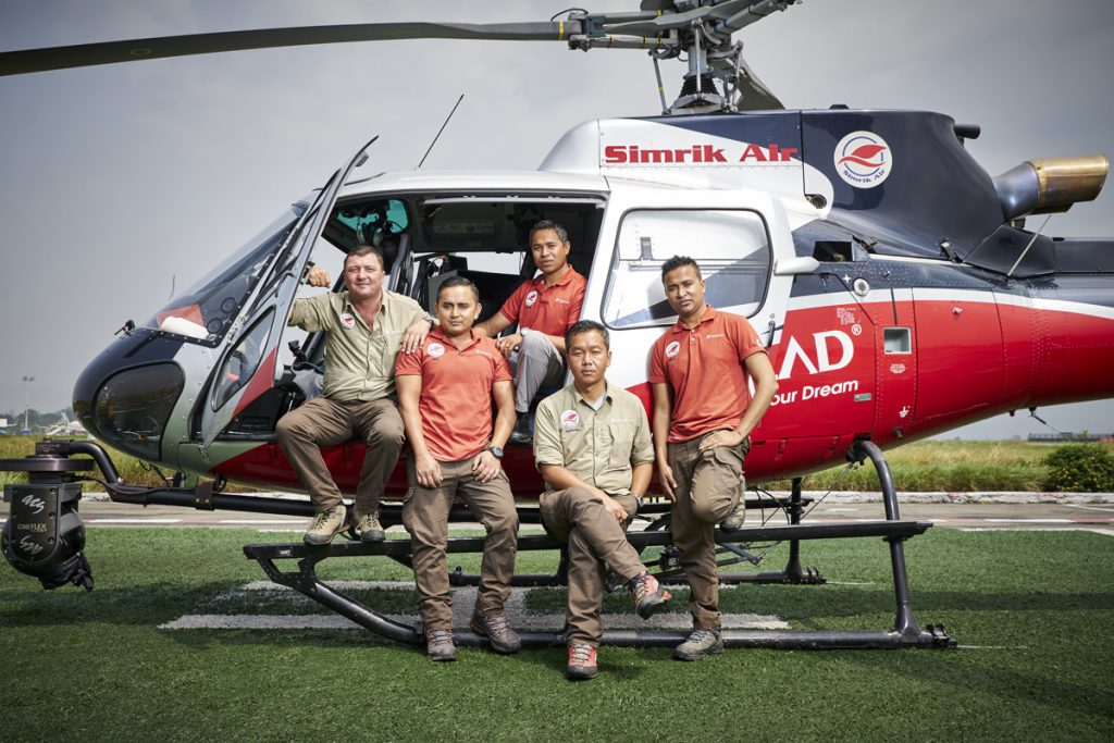 Simrik Air helicopter pilots, Kathmandu helipad. Left to right; Jason Laing, Bibek Khadka, Surrendra Poudel, Siddartha Gurung, Ananda Thapa (Andy)