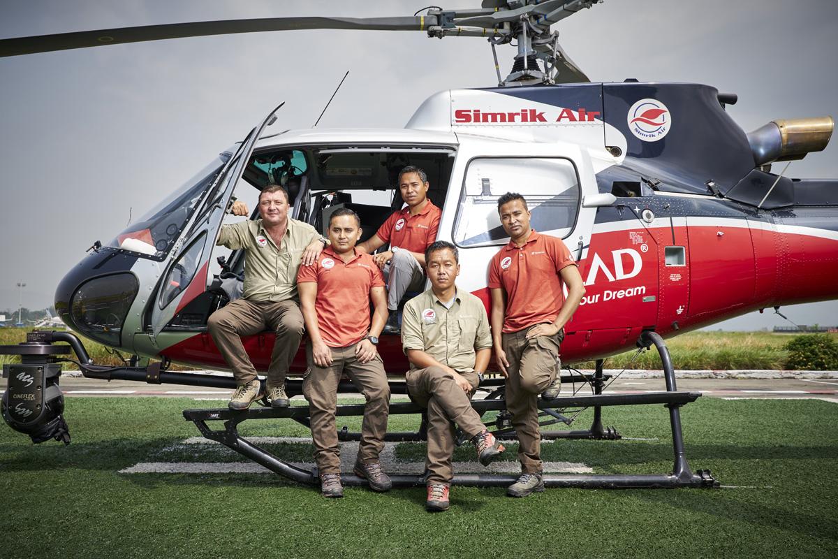 Simrik Air helicopter pilots, Kathmandu helipad. Left to right; Jason Laing, Bibek Khadka, Surrendra Poudel, Siddartha Gurung, Ananda Thapa (Andy)